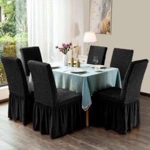 More4u Σετ Ελαστικά Καλύμματα Καρέκλας Τραπεζαρίας με Βολάν Μαύρο