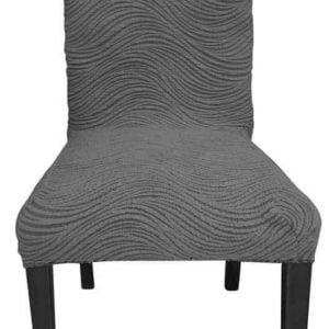 More4u Σετ Ελαστικά Καλύμματα Καρέκλας Τραπεζαρίας Ζακάρ χωρίς Βολάν Γκρι