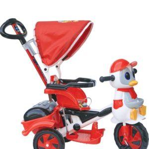 Παιδικό Τρίκυκλο Penguin Με Μπάρα Καθοδήγησης Και Τέντα-Κόκκινο