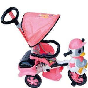 Παιδικό Τρίκυκλο Penguin Με Μπάρα Καθοδήγησης Και Τέντα-Ροζ