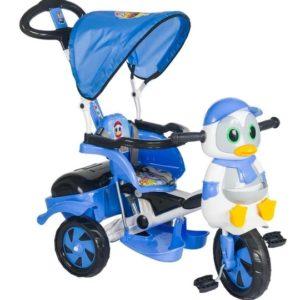 Παιδικό Τρίκυκλο Penguin Με Μπάρα Καθοδήγησης Και Τέντα-Μπλε