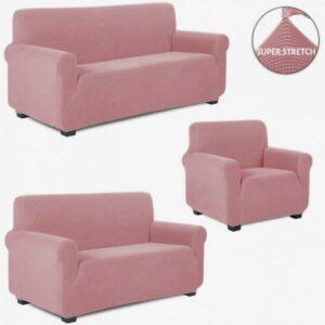 Σετ Καλύμματα Σαλονιού (Τριθέσιο+Διθέσιο+Πολυθρόνα)-Ροζ