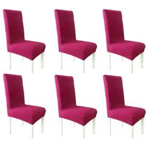 Σετ Ελαστικά Καλύμματα Καρέκλας χωρίς Βολάν  (6τμχ) Σάπιο Μήλο