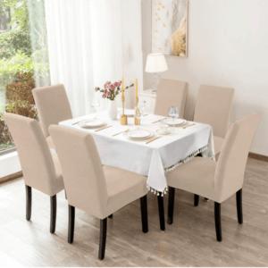 Σετ Ελαστικά Καλύμματα Καρέκλας χωρίς Βολάν  (6τμχ) Εκρού